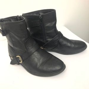 Black leather Moto  boots gold zip up buckle S/9